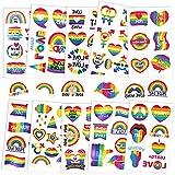 PHOGARY 10 hojas Gay Pride Tatuajes (patrón de bandera LGBT), Tatuajes Temporales de Arco Iris, Calcomanías de Pinturas Corporales Impermeables para Accesorios de Celebración del Orgullo Gay