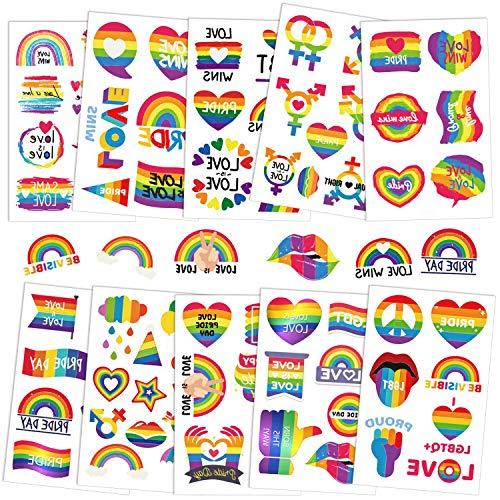 PHOGARY Gay Pride Tattoos (Modello di bandiera LGBT), 10 fogli Tatuaggi Temporanei Arcobaleno, Decalcomanie Impermeabili per pitture per il corpo di Gay Pride, dimensioni medie