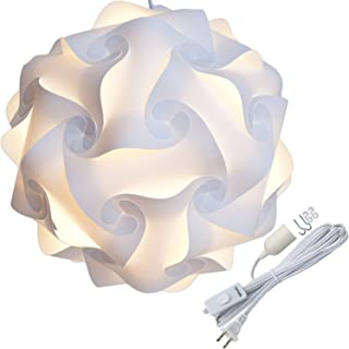 Lightingsky Ceiling Pendant DIY IQ Jigsaw Puzzle Lamp Shade Kit with 15 Feet Hanging Cord (White, L-12 inch)