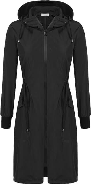 Rain Jacket Women Long Rain Coat Lightweight Waterproof Windbreaker S-XXL