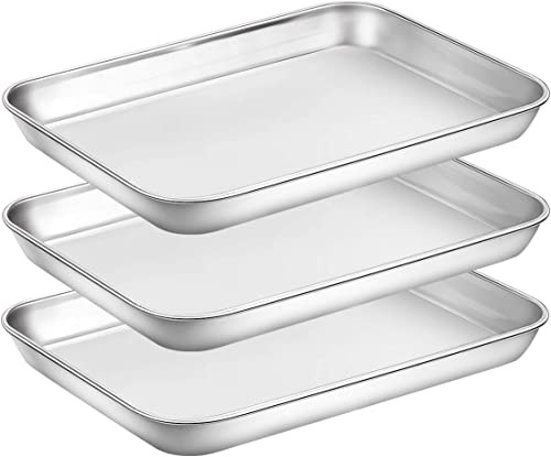 lowest Baking Sheet Pan for Toaster Oven, Stainless Steel Baking Pans Small Metal Cookie Sheets by Umite Chef, Superior Mirror Finish Easy Clean, Dishwasher wholesale Safe, 9 2021 x 7 x 1 inch, 3 Piece/set online sale