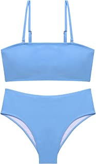 ADOME Women's Bandeau Bikini Set 2 Pieces Swimsuits Removable Straps High Cut Bathing Suit High Waist Swimwear