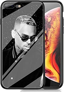 RUIWEI RWNO-204 Chris Brown Designed for iPhone XR Case,Tempered Glass Back Cover and Black Anti-Scratch Shock Absorption Cover Case