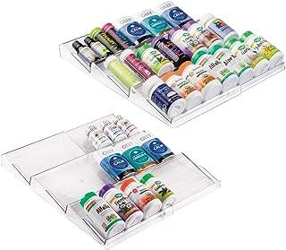 mDesign Plastic Adjustable/Expandable Vitamin Rack Drawer Organizer Tray Insert for Bathroom Vanity Drawers - 3 Slanted Storage Shelves - Supplements, Medication - 2 Pack - Clear