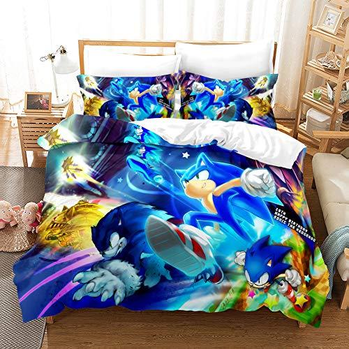 Funda nórdica para niños Juego de ropa de cama para niños con estampado de dibujos animados en 3D de Sonic 3D 2 piezas que incluyen 1 funda nórdica, 1 fundas de almohada (03, individual 135 x 200 cm)