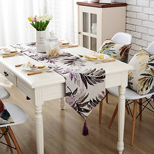 Camino mesa borla rústico Modern Jacquard hojas mesa