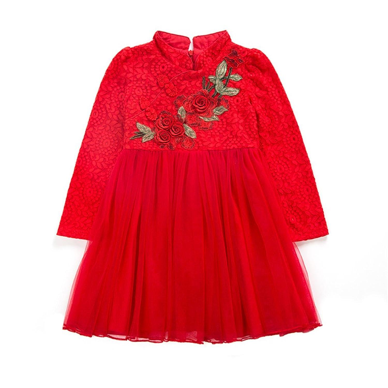 (チェリーレッド) CherryRed 子供服 フォーマルドレス 中国風 刺繍 お花 立て襟 赤 140