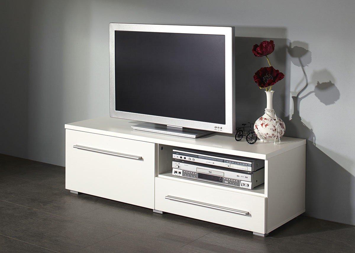 Dreams4Home bajo Elif S, TV-Armario Mueble de televisión con Puerta corredera Muebles TV Element 120 cm Blanco Brillante: Amazon.es: Hogar