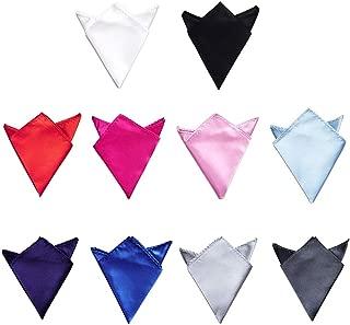 TopTie Wholesale Mens Solid Color Pocket Squares Wedding Handkerchiefs, 10 PCS