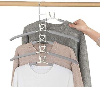 MEYUEWAL Cintres Porte-Manteaux Multicouche Anti-Glisse pour Garde-Robe 5 en 1 vêtements de Rangement pour Adultes en méta...