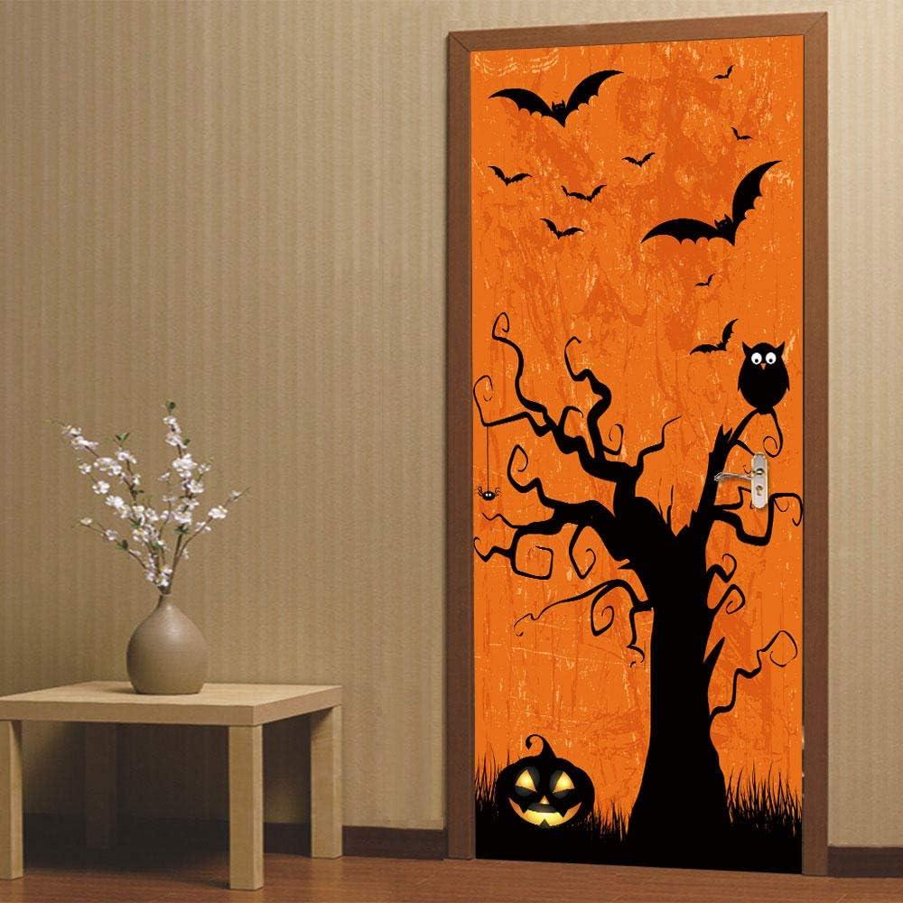 SJYHNB Baltimore Mall Modern Art Door Sticker Bat Same day shipping Waterproof Self-A Halloween