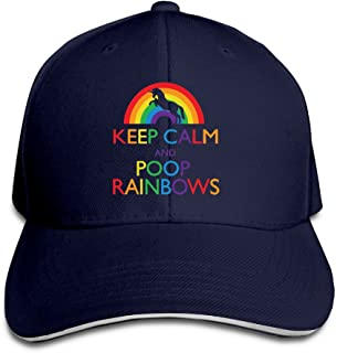 Nubia Keep Clam and Poop Rainbows Unisex Hat Flex Fit Cap Black