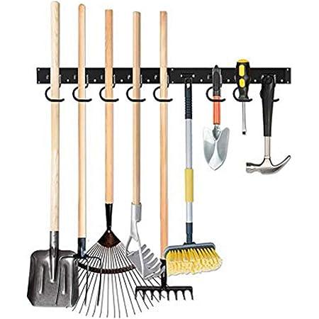 TZUTOGETHER porte outils de jardin mural,Supports de balai de vadrouille,Organisateur d'étagères de support à outils,Porte-outil mural à forte capacité portante,suspension murale(48/64 pouces)