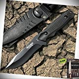 8' Defender Xtreme Hunting Stainless Steel Fixed Blade Knife With Sheath Black + Free eBook by Survival Steel