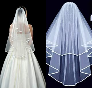 Two-Tier Beautiful Simple Style Short Bridal Wedding Veil, Elbow Veils with Comb Tulle, Shoulder Veils with Ribbon Edge,Headpiece Accessories