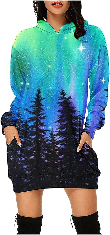 Pandaie Tie Dye Fall Dresses for Women Print Fashion Tunics Hoodie Sweatshirts Bag Hip Pocket Long Sleeves Mini Dress