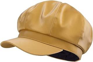 moonsix Newsboy Hat, Plain Cabbie Visor Beret Gatsby Ivy Caps for Women, Bright Leather