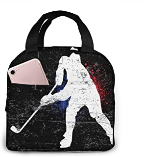 KiuLoam Vintage Ice Hockey Player Reusable Insulated Lunch Bag for Boys Girls Men Women Lunch Box Tote Bag Food Container ...