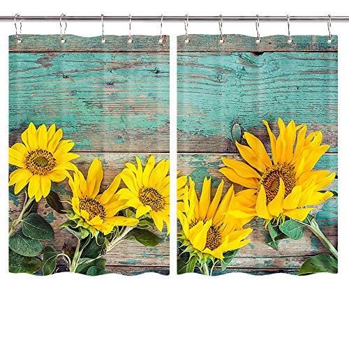 Vorhänge aus Holz, für Garagentor, Küchenfenster, Landhauspflanze, Sonnenblumen auf rustikalen alten Scheunen, 140 x 90 cm