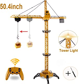 BOBXIN 50.4 inch RC Tower Crane, 6 Channel Lift Construction Model 2.4GHz Mega Crane Toy with Tower Light Realistic Sound and Adjustable Height Gift for Boys with Screwdriver(US Delivery)