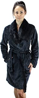Women's Warm Fleece Robe with Faux Fur Collar Arabesque Pattern - Plush Super Soft Short Bath Robe