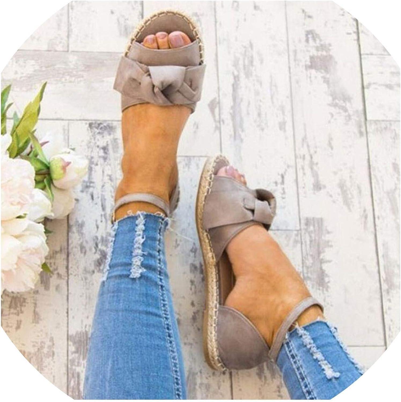 Women Flats Sandals Bowknot shoes for Women Comfortable Sole Open Toe Buckle Beach Sandals