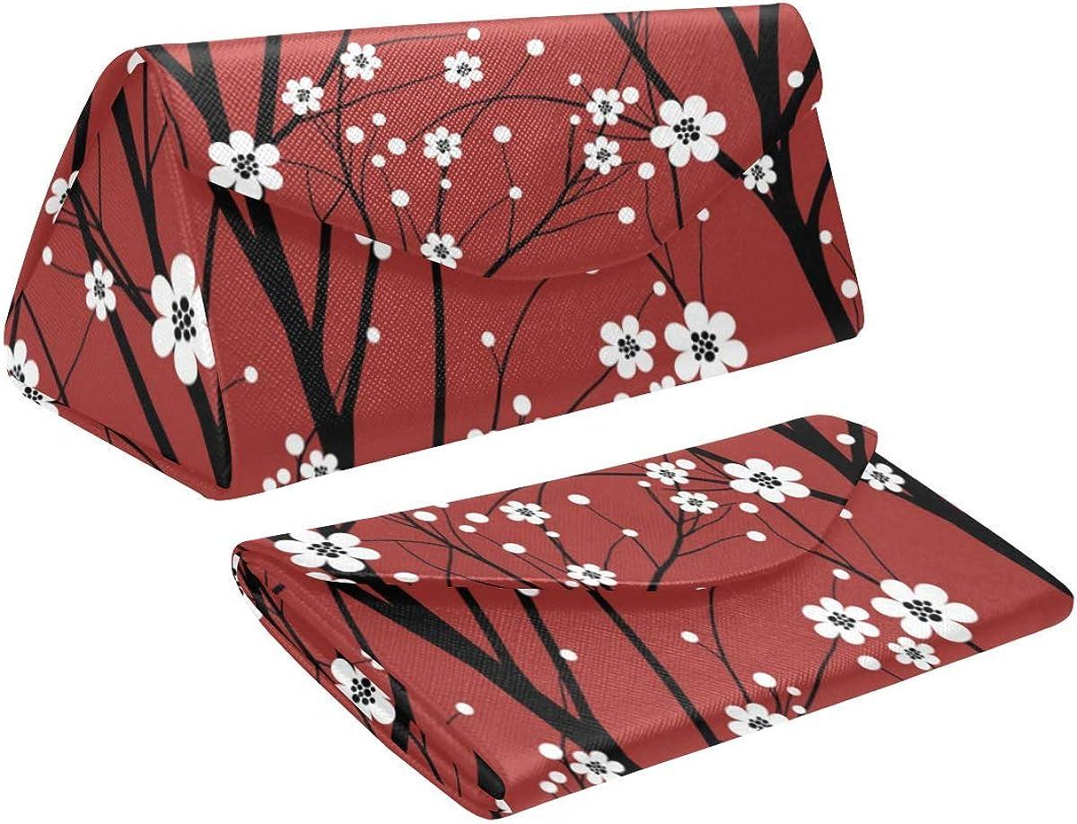 Glasses Case Cherry Tree Eyeglass Case Leather Magnetic Folding Hard Case Sunglasses Eyewear Protective Case