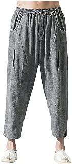 Pantalones Hombre, Pantalones Rectos AlgodóN Y Lino Pantalon Large Pantalon Large Color SóLido Simple Pantalones De HaréN Pantalon Home Outdoor Pantalones De Moda 2019 M-5Xl