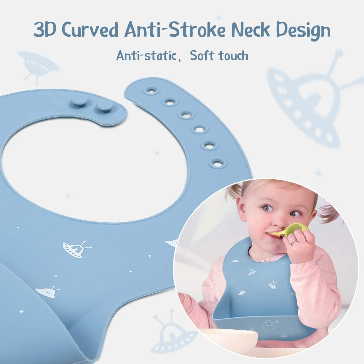 Silicone Baby Bibs Easily Adjustable and Wipe Clean Soft Waterproof Bibs Perfect for Babies /& Toddlers(Duck/&Sheep)
