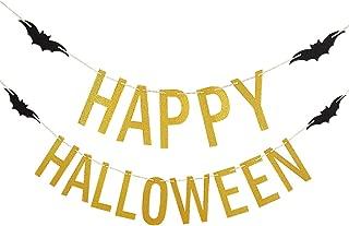 Gold Glittery Happy Halloween Banner -Halloween Party Decoration Supplies