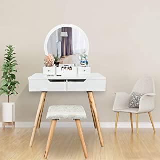 Bonnlo Vanity Table Set with Round Mirror for Girls White Bedroom Dressing Table with Vanity Stool,4 Drawers Makeup Table with Removable Desk Makeup Organizer