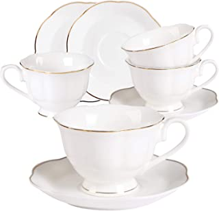 Ceramic Tea Cups and Saucers Set - 4PCS 7oz New Bone China Porcelain Coffee Cups Set With Golden Leaves Edge for Mocha Latte and Cappuccino,Set of 4