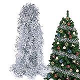 BHGT 6 Tiras Espumillón de Navidad 12Metros Guirnaldas Colgantes árbol de Navidad Adornos Navideños Manualidades Decoración Fiesta Plateado