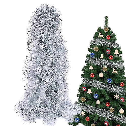 BHGT 6 Stück x 2m Weihnachten Lametta Girlande Metallisch Lametta Girlande Weihnachtsbaum Lametta Dekoration Lametta Draht Girlande für Weihnachten Dekoration Silber
