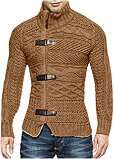Winter Fashion Men's Solid Stand Collar Warm Knitted Sweater Jacket Top Blouse