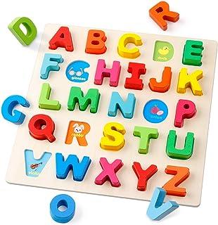Coogam Puzzle Alphabet en Bois Panneau à Lettres ABC Bouton Blocs de Puzzle Montessori Apprentissage précoce Cadeau Jouet ...