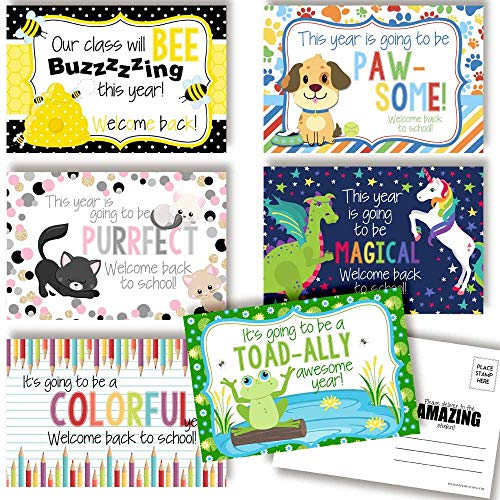 Welcome To My Class Back To School Blank Postcards For Teachers To Send To Students, 4'x6' Fill In Notecards (6 different designs) by AmandaCreation (30)
