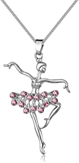 Zhichengbosi Pink Little Girl Necklace, Alloy Dancer Pendant Necklace, Hypoallergenic Ballerina Dance Girls Jewelry 16 inches