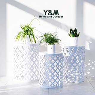 Y&M Round Metal Garden Stool,Set of 3,Side Table for Indoor Outdoor Use,Plant Stand (White)