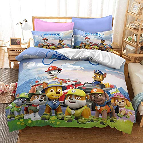 LWtiao-x 3DHeroes Dogs Bedding, Children's Quilt Cover 135x 200 Rescue + Pillowcase on Four Claws, Single (a6,140x210cm+75x50cmx1)