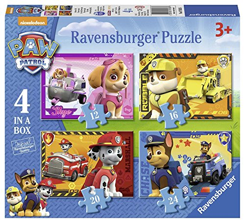 Ravensburger 070336 Puzzel Paw Patrol 4 in 1: 12/16/20/24 Stukjes, 36+ mnd