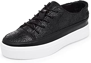 MEWOW Women's Causal Leather Flat Flaform Sneakers Sport Trainer Loafer Shoes