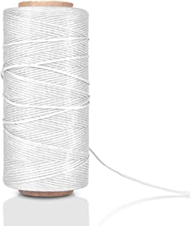 Waxed Thread, Wax String, Coated Cord Heavy Duty Polyester 284Yard 1mm 150D for Bracelets, Leather Craft Stitching Sewing, Book Binding, DIY Handcraft (White)