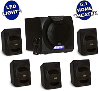 Acoustic Audio by Goldwood AA5230 Home Theater 5.1 Bluetooth Speaker System with USB Input and LED Display, Black