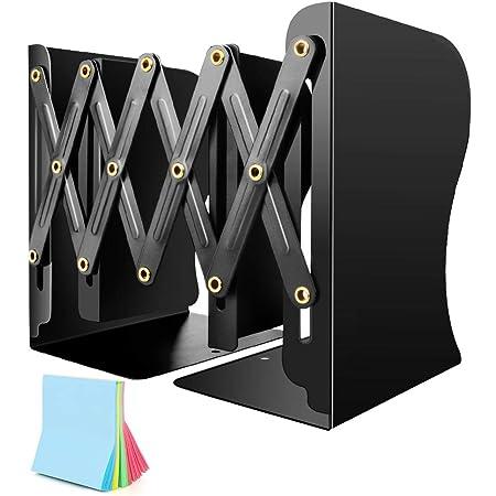 本立て 伸縮自在 ブックエンド 金属製 ブックスタンド スライド式 収納 デスク整理 ファイル/雑誌/新聞/書類入れ 仕切りスタンド 付箋付き (ブラック)