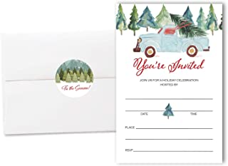 Set of 20 Christmas Party Invitations with Envelopes and Envelope Seals, Fill in Style Holiday Party Invitations, Vintage Blue Truck with Tree