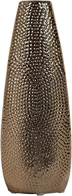 Urban Trends 25054 Ceramic Round Vase Large Dimpled Polished Chrome Finish Gold Urban Trends Collection
