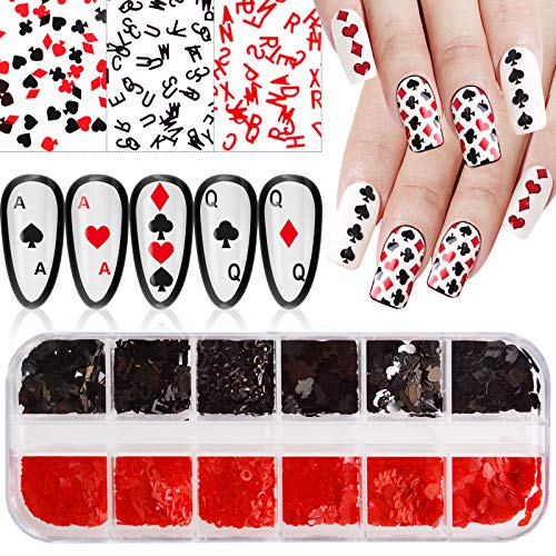 EBANKU 12 Grids Playing Card Style Nail Art Sequins, Numbers Letter Graphics Shape Poker Nail Sequin Nail Accessories For Women Girls Nail Art Design Decoration and Resin Molds DIY