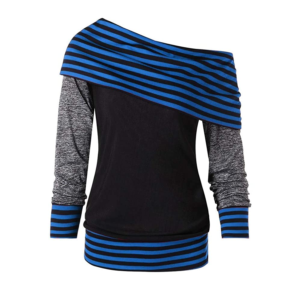 TnaIolr Women Bow-Neck Long Sleeve Striped PatchWord Pullover Color Block Sweatshirt Top