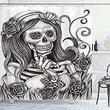 qulia 60X72inch Cráneo Cortina de Ducha Calavera Chica con Velo Floral Ceremonia Día de los Muertos Novia Esqueleto Dama Arte Tela Tela Baño Decoración Set con Ganchos